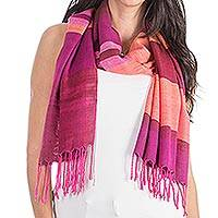 Rayon shawl, 'Exotic Orchid' - Handwoven Fuchsia and Pink Rayon Shawl from Guatemala