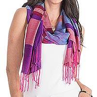 Rayon shawl, 'Celebration of Color' - Handwoven Multicolored Rayon Shawl from Guatemala
