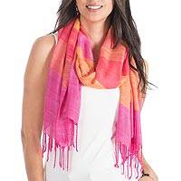 Rayon shawl, 'Neon Bouquet' - Handwoven Bright Multicolored Rayon Shawl from Guatemala