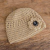 Hand-knit hat, 'Lovely Texture in Beige' - Hand-Crocheted Hat Textured  in Beige from Guatemala