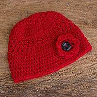 Hand-crocheted hat, 'Lovely Texture in Cherry' - Hand-Crocheted Hat Textured  in Cherry from Guatemala