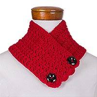 Hand-crocheted neckwarmer, 'Lovely Wrap in Cherry' - Hand-Crocheted Neckwarmer in Cherry from Guatemala