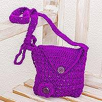 Sling bag, 'Lovely Buttons in Vivid Purple' - Handmade Adjustable Purple Sling Bag from Guatemala