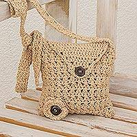 Hand-crocheted sling, 'Lovely Buttons in Beige' - Hand-Crocheted Sling Handbag in Beige from Guatemala