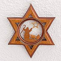 Wood wall art, 'Christmas Star of Bethlehem' - Star of David Christmas Shepherds Wood Carving for the Wall