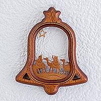 Wood wall art, 'Follow the Christmas Star' - Bell Shaped Three Kings Christmas Wall Art Wood Carving