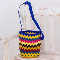 Crocheted cotton bucket bag, 'Lively' - Multi-Color Hand Crocheted Zig Zag Patterned Bucket Bag