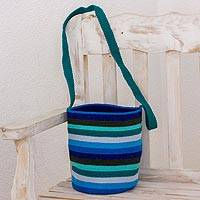 Crocheted cotton bucket bag, 'Ocean Breeze' - Blue and Green Striped Hand Crocheted Bucket Bag