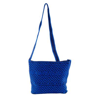 Blue and Navy Chevron Pattern Hand Crocheted Shoulder Bag