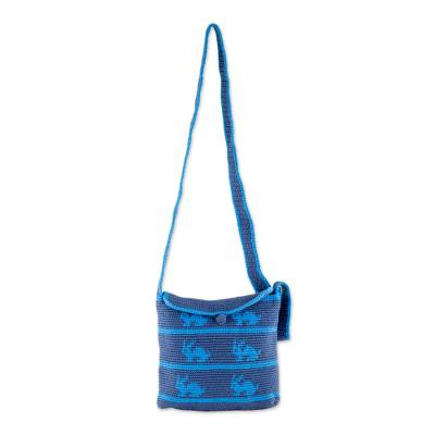 Blue Rabbit Pattern Hand Crocheted Shoulder Bag