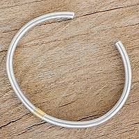 Gold accent sterling silver with cuff bracelet, 'Sunshine and Moonlight' - Sterling Silver Gold Accented Cuff Bracelet