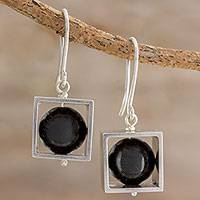 Onyx dangle earrings, 'Frames' - Square Sterling Silver Frame with Onyx Orb Dangle Earrings