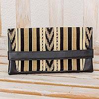 Leather accent cotton clutch, 'Woven Waterfall' - Hand Woven Beige and Black Cotton and Leather Accent Clutch