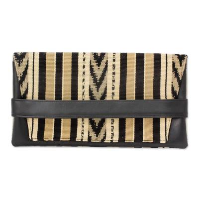 Hand Woven Beige and Black Cotton and Leather Accent Clutch