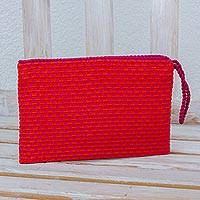 Cotton wristlet, 'Dragon Fruit' - Orange with Fuchsia Flowers Cotton Hand Woven Wristlet