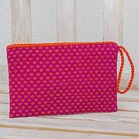 Cotton wristlet, 'Tangerines' - Fuchsia with Orange Flowers Cotton Hand Woven Wristlet