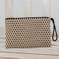 Cotton wristlet, 'Milan' - Beige with Black and Red Dots Cotton Hand Woven Wristlet