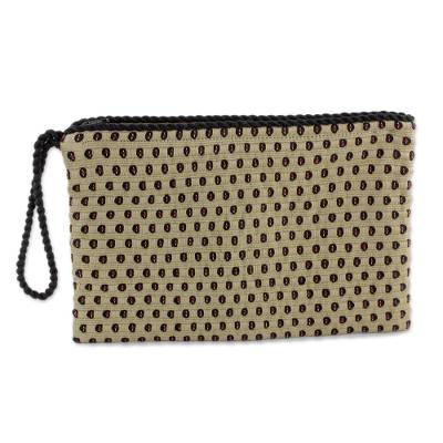 Beige with Black and Red Dots Cotton Hand Woven Wristlet