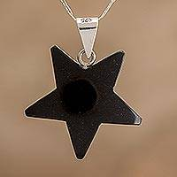 Jade pendant necklace, 'Stellar Light in Black' - Jade Star Pendant Necklace in Black from Guatemala