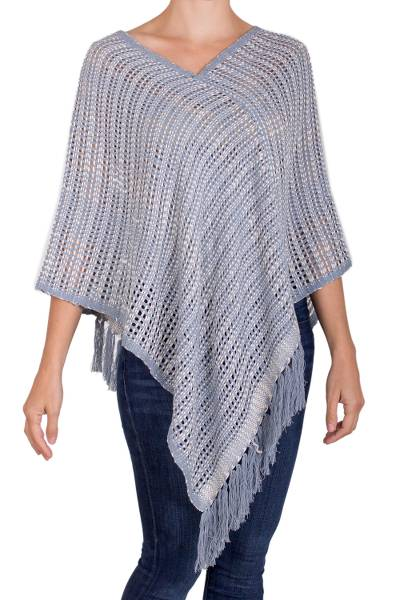 Blue and Ivory Cotton and Recycled Denim Poncho