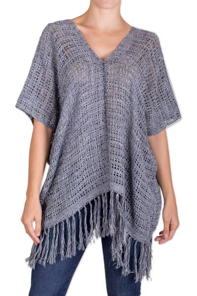 Blue Cotton and Recycled Denim Poncho from Guatemala