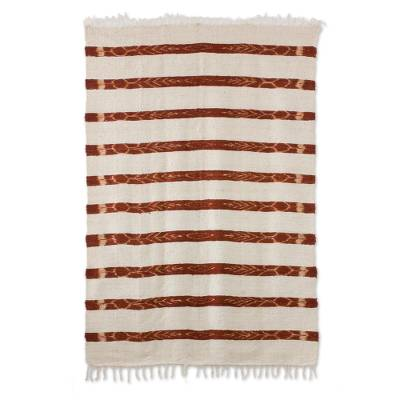 Wool area rug, 'Jasper Inspiration in Russet' (4x6) - Handwoven Wool Area Rug in Russet (4x6) from Guatemala