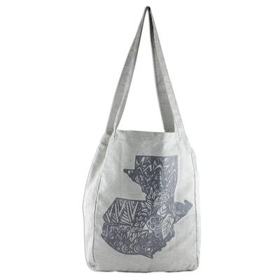 Grey 100% Cotton Tote Bag with Guatemalan Map Design