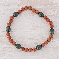 Jade and aventurine beaded stretch bracelet, 'Orange Tulips' - Jade and Aventurine Beaded Stretch Bracelet from Guatemala