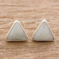 Jade stud earrings, 'Triangle Allure' - Jade and Sterling Silver Triangle Stud Earrings