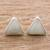 Jade stud earrings, 'Triangle Allure' - Jade and Sterling Silver Triangle Stud Earrings thumbail