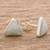 Jade stud earrings, 'Triangle Allure' - Jade and Sterling Silver Triangle Stud Earrings (image 2b) thumbail