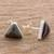 Jade stud earrings, 'Triangle Mystique' - Black Jade and Sterling Silver Triangle Stud Earrings (image 2b) thumbail
