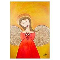 'Heart of an Angel' - Naif Style Acrylic Painting of Female Angel Holding Heart