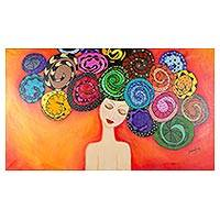'Spiral Dream' - Naif Style Acrylic Painting of Woman with Spiral Curls