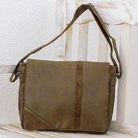 Faux leather messenger bag, 'Coffee Traveler' - Faux Leather Messenger Bag in Coffee from Costa Rica