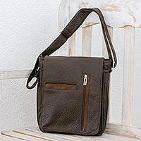 Faux leather messenger bag, 'Practical Elegance' - Espresso-Colored Faux Leather Messenger Bag from Costa Rica