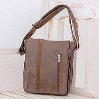 Faux leather messenger bag, 'Tica Exploration' - Faux Leather Messenger Bag in Mahogany from Costa Rica
