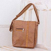 Faux leather messenger bag, 'Tica Lands' - Faux Leather Messenger Bag in Chestnut from Costa Rica