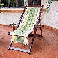 Recycled cotton blend hammock chair, 'Paradise Fields' - Adjustable Wood Frame Recycled Cotton Blend Hammock Chair