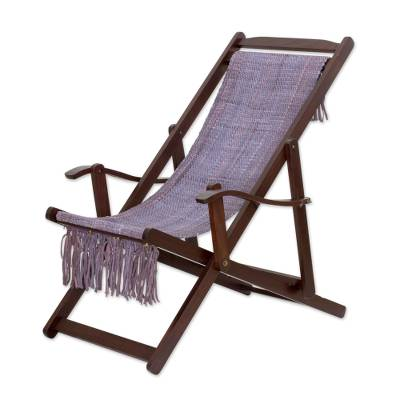 Adjustable Frame Purple Recycled Cotton Blend Hammock Chair