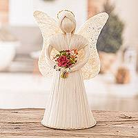 Natural fiber sculpture, 'Angel with Flowers' - Handcrafted Natural Fiber White Angel with Bouquet