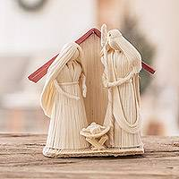 Natural fiber nativity scene, 'Nativity Love' - Handcrafted Natural White Natural Fiber Nativity Scene