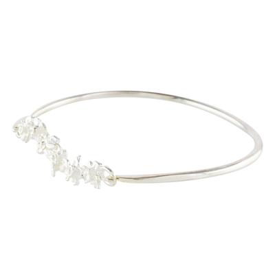 Sterling Silver Floral Motif Pendant Bangle Bracelet