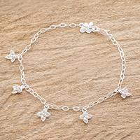 Sterling silver charm bracelet,