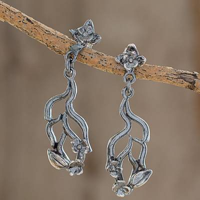 Sterling silver dangle earrings, 'Graceful Flowers' - Sterling Silver Floral and Vine Motif Dangle Earrings