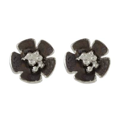 Handcrafted Sterling Silver Flower Stud Earrings