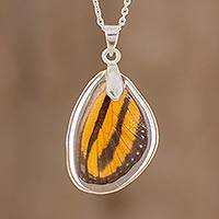 Butterfly wing pendant necklace, 'Isabella's Longwing' - Natural Butterfly Wing Pendant Necklace from Costa Rica