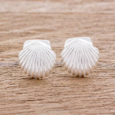 Sterling silver button earrings, 'Scallop' - Handcrafted Sterling Silver Scallop Shell Button Earrings