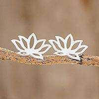 Sterling silver button earrings, 'Lotus Bloom' - Handcrafted Sterling Silver Lotus Blossom Button Earrings