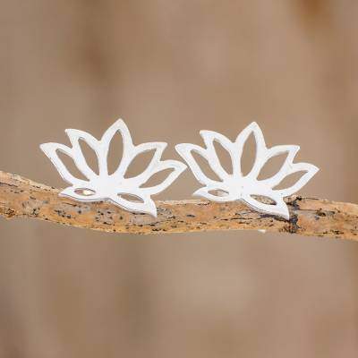 Sterling silver button earrings, Lotus Bloom